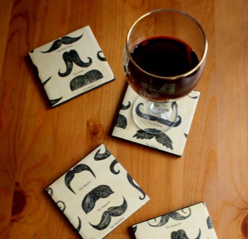 DIY Mustache Coasters