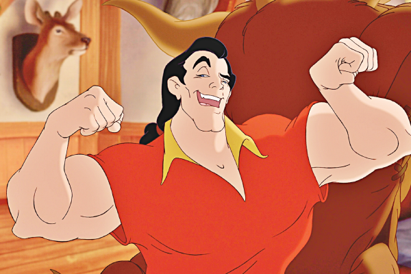Gaston flexing his muscles